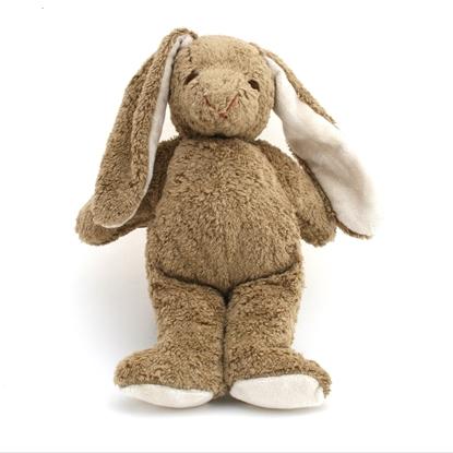 Beige konijn in bio katoen, staat recht, heeft zwart gestikte ogen en de binnenkant van de oren en de voetzolen in witte badstof.