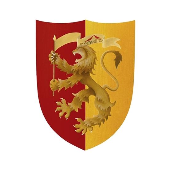 Klein ridderschild met opdruk van een beige heraldische leeuw. De rechter helft van het schild heeft een gele achtergrond, de linker een rode.