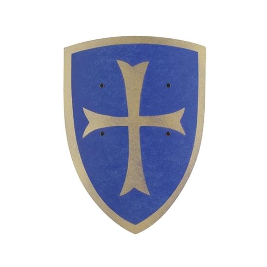 Petit écu de chevalier en contreplaqué de bois bleu courbé avec croix de templier dorée.