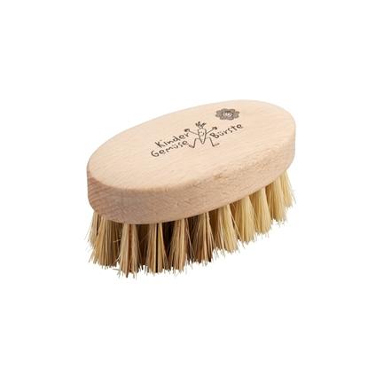 Ovalen houten groenteborsteltje voor kinderen met natuurlijke haren van agave vezels.